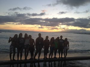 Group at sunset