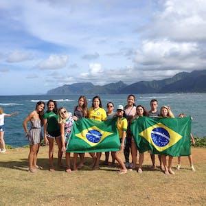 Group wth the Brasilian flag 2