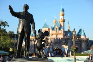 Walt Disney and Mickey Mouse statue at Disneyland California. Image shot 2009. Exact date unknown.