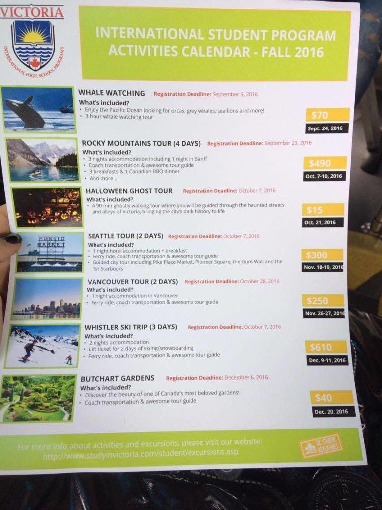 Essa foi a lista que recebemos das viagens que podemos fazer (se quisermos, e é claro que eu quero rs) nesse semestre.