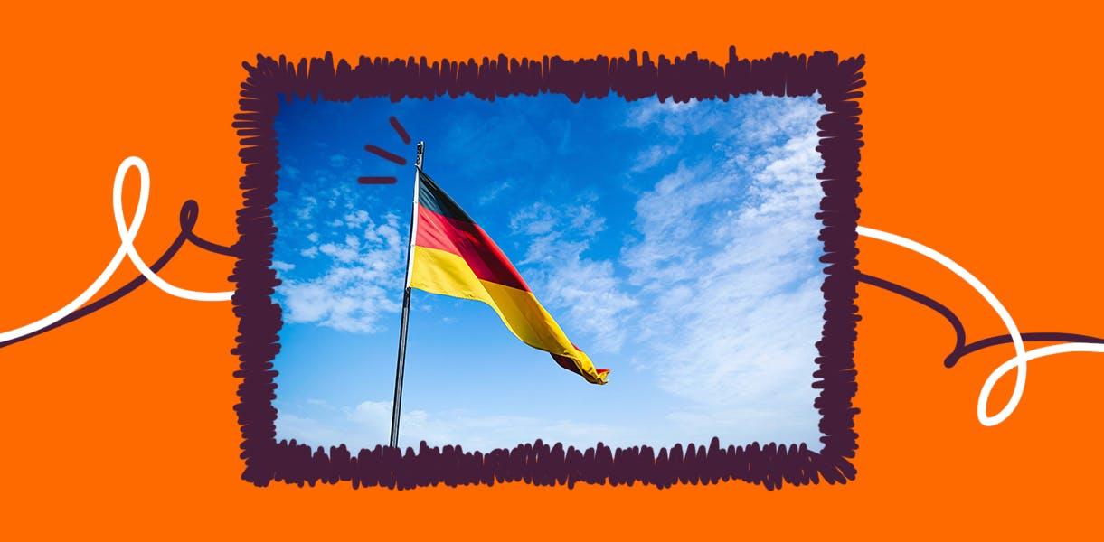 Parte da cultura da Alemanha: a sua bandeira com três cores, amarelo, vermelho e preto.