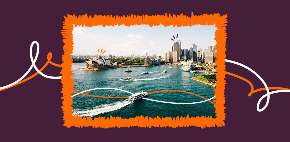 Visão aérea de Sydney, Austrália.