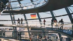 Reichstag Building, edifício histórico em Berlim, Alemanha.