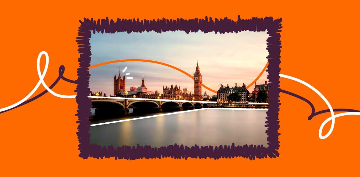 Imagem de capa para o conteúdo Roteiro Londres, onde se vê o Big Bang ao fundo.